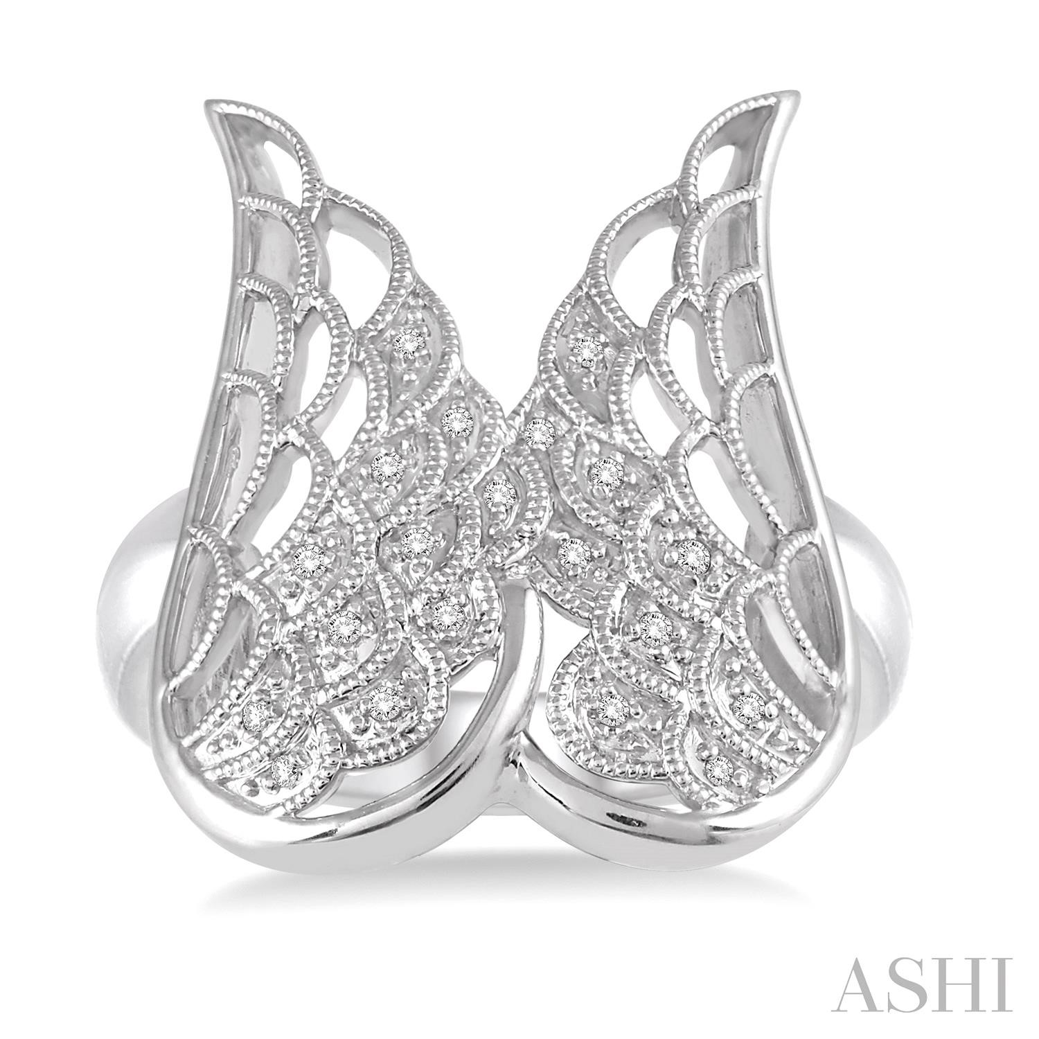 Silver Angel Wing Diamond Ring