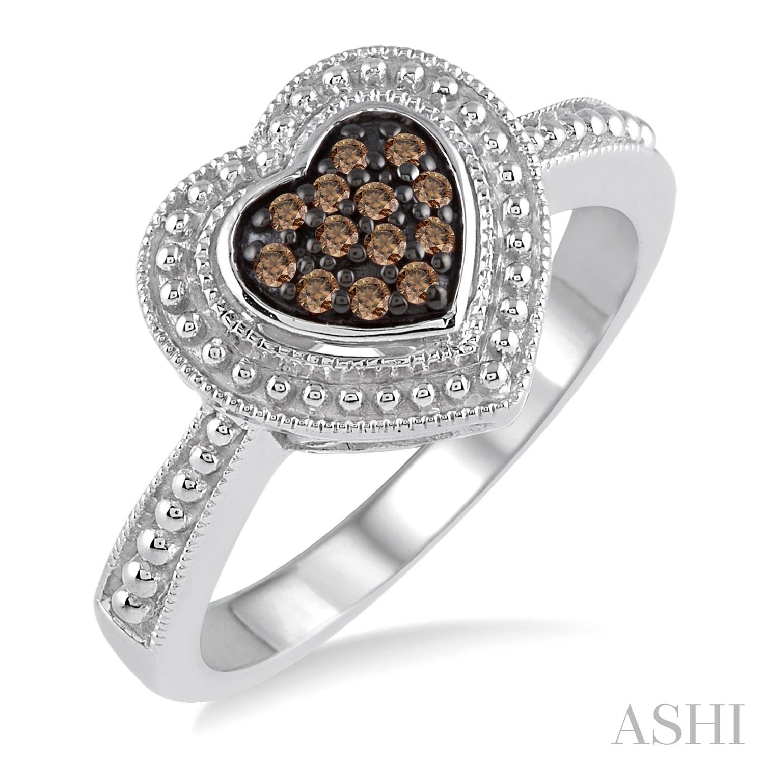 Silver Heart Shape Champagne Diamond Ring
