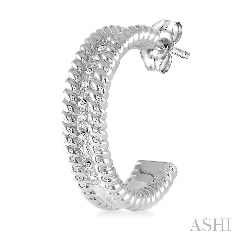 Silver Rope Diamond Earrings