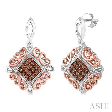 Silver Champagne Diamond Earrings
