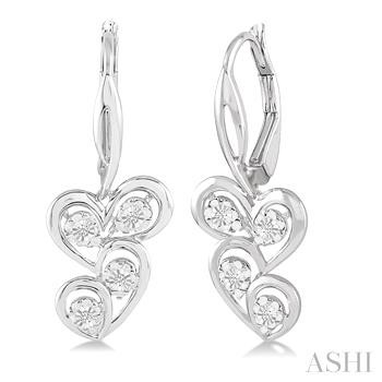 Silver Twice Heart Shape Diamond Earrings