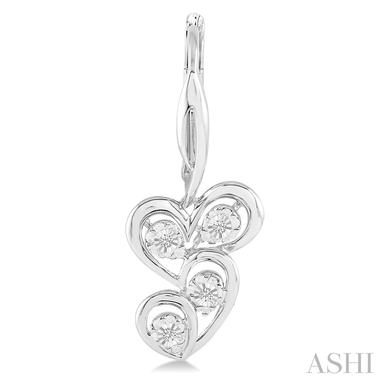Silver Twice Heart Shape Diamond Earrings