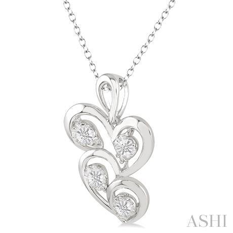 Silver Twice Heart Shape Diamond Pendant