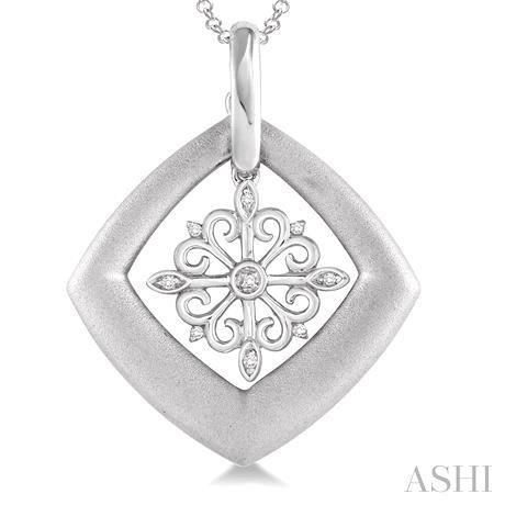 Silver Snow Flake Diamond Pendant