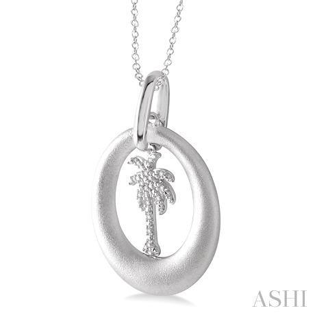 Silver Plam Tree Diamond Pendant