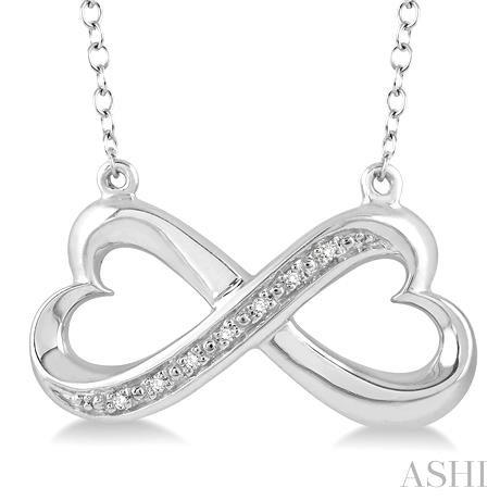Silver Infinity Heart Shape Diamond Pendant