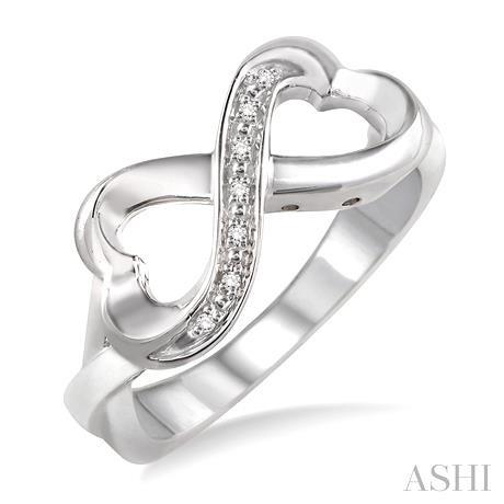 Silver Infinity Heart Shape Diamond Ring