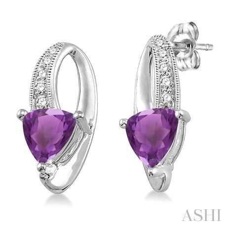 Trillion Shape Silver Gemstone & Diamond Earrings