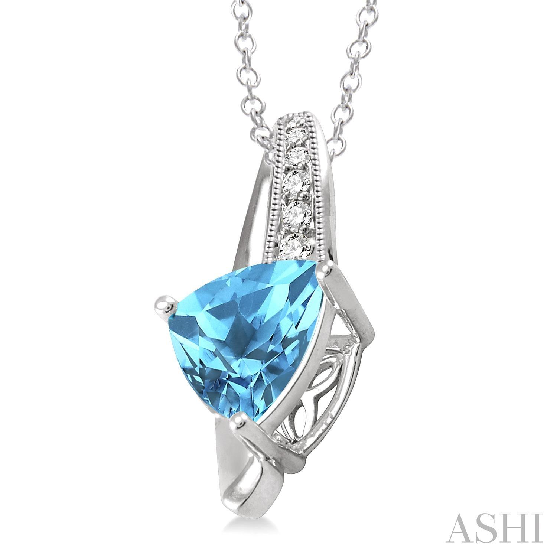 Trillion Shape Silver Gemstone & Diamond Pendant