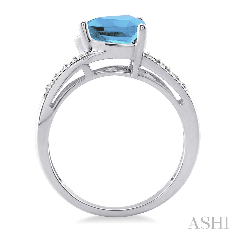 Trillion Shape Silver Gemstone & Diamond Ring