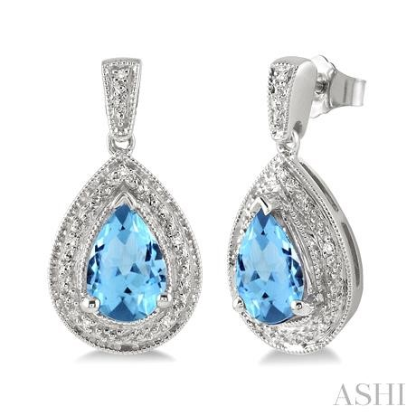 Pear Shape Silver Gemstone & Diamond Earrings