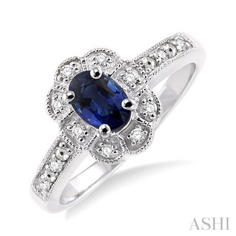 Oval Shape Silver Gemstone & Diamond Ring