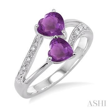 Double Heart Shape Silver Gemstone & Diamond Ring