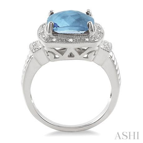 Silver Gemstone & Diamond Ring