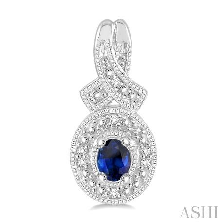 Oval Shape Silver Gemstone & Diamond Earrings