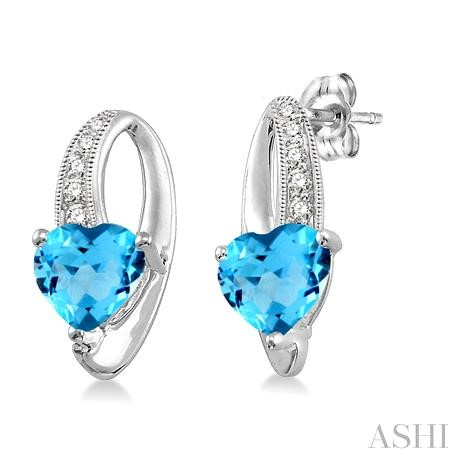 Heart Shape Silver Diamond & Gemstone Earrings