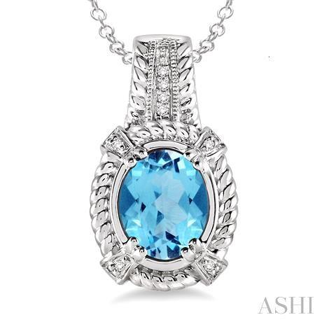 Oval Shape Silver Gemstone & Diamond Pendant