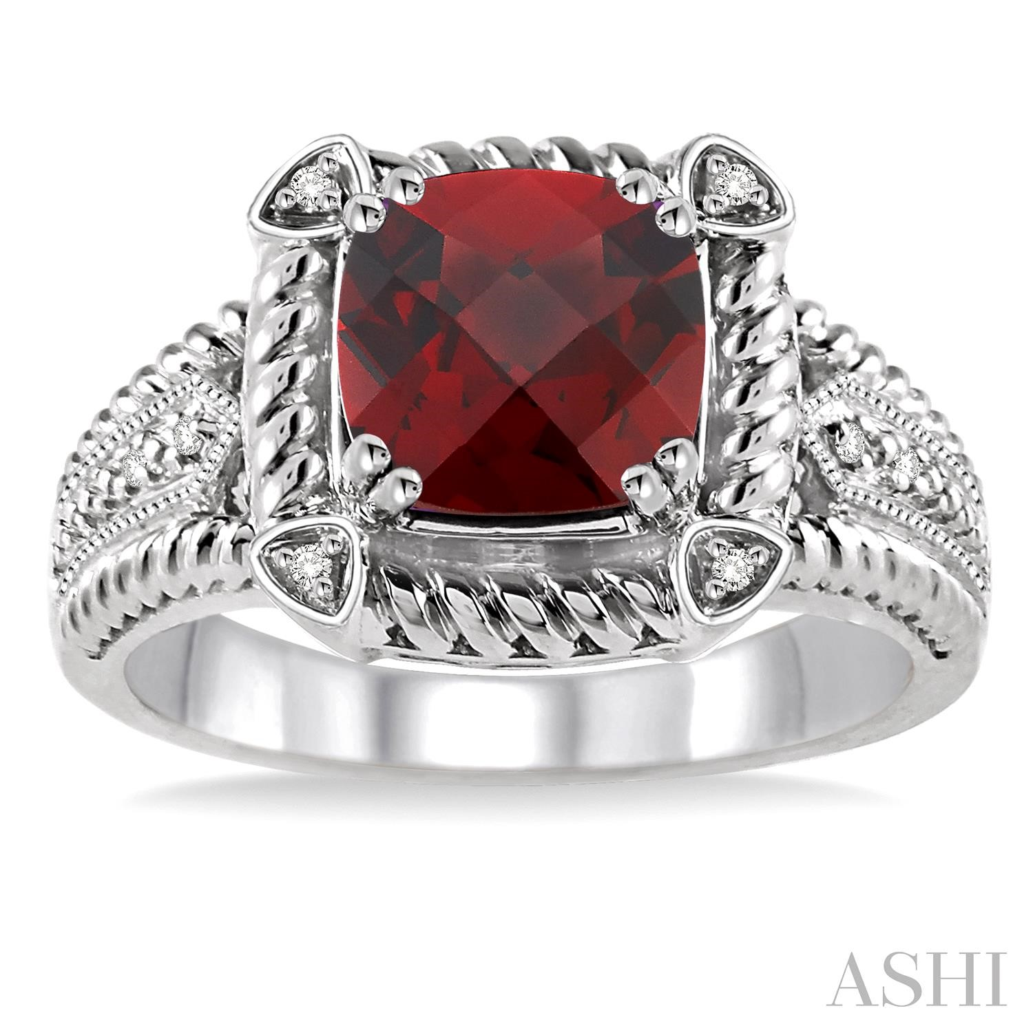 Silver Gemstone & Diamond Ring