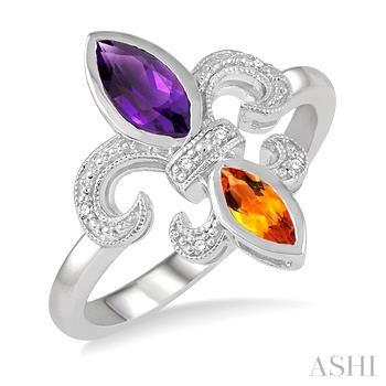 Silver Fleur De Lis Gemstone & Diamond Ring