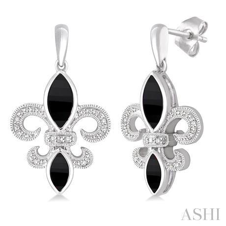 Silver Fleur De Lis Gemstone & Diamond Earrings
