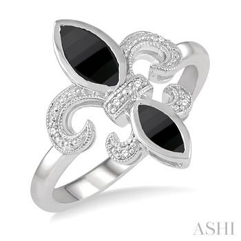 Silver Fleur De Lis Gemstone & Diamond Ring