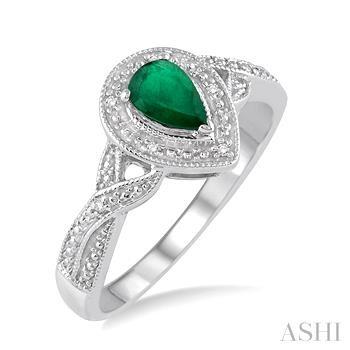 Pear Shape Silver Gemstone & Diamond Ring