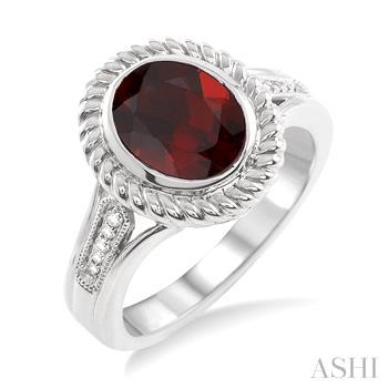 Oval Shape Silver Gemstone & Diamond Ring