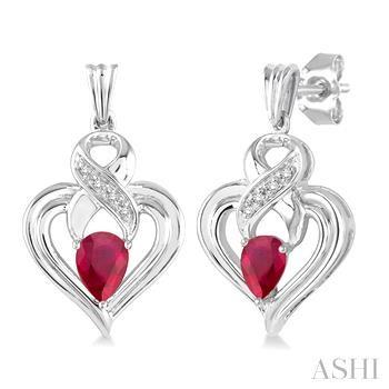 Silver Heart Shape Gemstone& Diamond Earrings