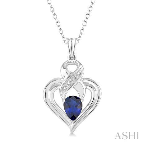 Silver Heart Shape Gemstone& Diamond Pendant