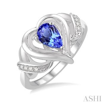 Silver Heart Shape Gemstone& Diamond Ring