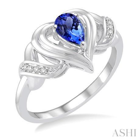 Silver Heart Shape Gemstone& Diamond Ring