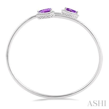 Pear Shape Silver Gemstone & Diamond Bangle