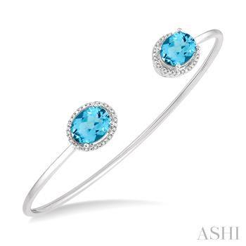 Oval Shape Silver Gemstone & Diamond Bangle