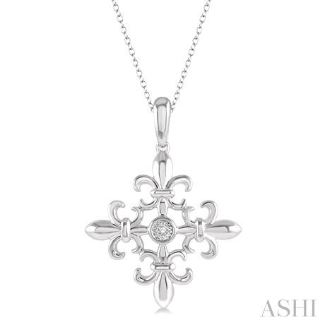 Silver Fleur De Lis Diamond Pendant