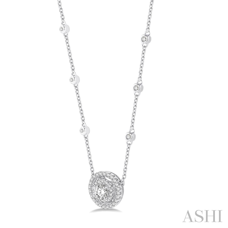 Double Halo Diamond Station Necklace