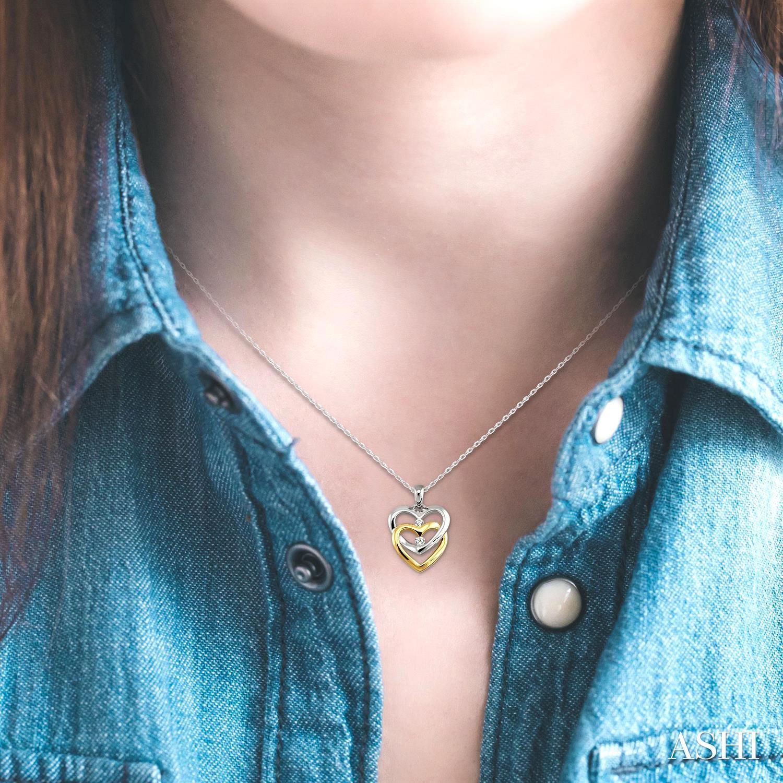 Twin Heart Shape 2Stone Diamond Pendant