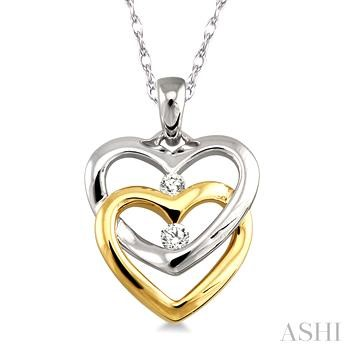Twin Heart Shape 2Stone Diamond Pendant