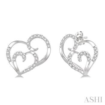 Double Heart Shape Diamond Earrings