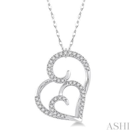 Double Heart Shape Diamond Pendant