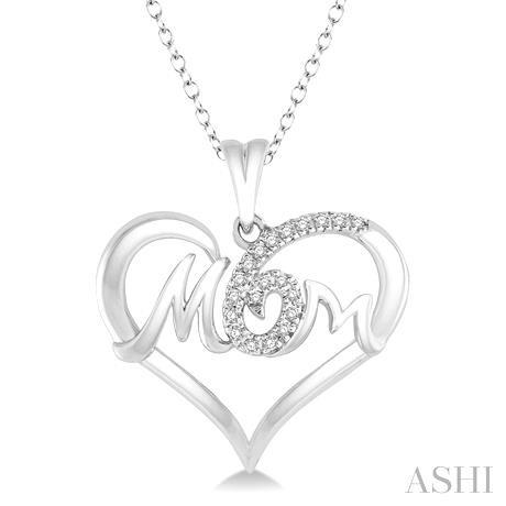 Mom Heart Shape Diamond Pendant