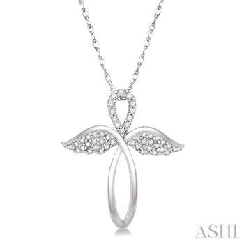 Diamond Angel Wing Cross Pendant