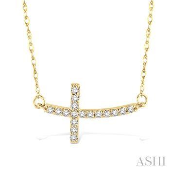 SIDEWAY CROSS DIAMOND PENDANT