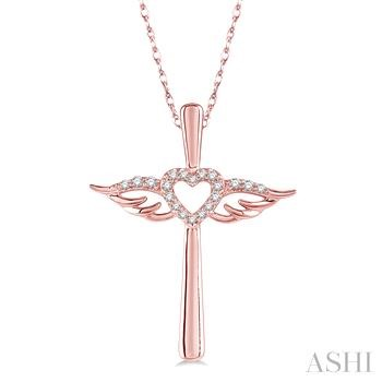 DIAMOND ANGEL WINGS HEART SHAPE & CROSS PENDANT