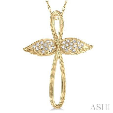 Diamond Angel Wings Cross Pendant