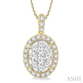 Oval Shape Lovebright Diamond Pendant