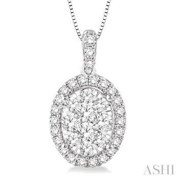 Oval Shape Lovebright Diamond Pendant