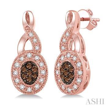 Oval Shape Champagne Diamond Earrings