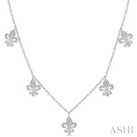 Diamond Fleur De Lis Station Necklace