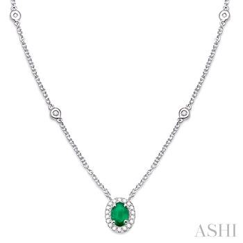 Oval Shape Gemstone & Diamond Station Necklace