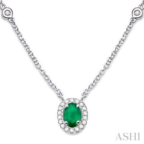 Oval Shape Gemstone & Diamond Station Necklace